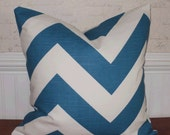 SALE ~ Decorative Pillow:  18 X 18 Designer Accent Throw Pillow Cover in Large Teal Blue Chevron ...Home & Living...Home Decor