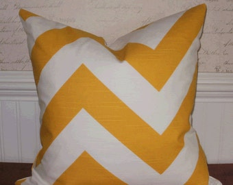 SALE ~ Decorative Pillow:  18 X 18 Designer Accent Throw Pillow Cover in Large Sunshine Yellow Chevron ...Home & Living...Home Decor