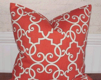 SALE ~ Decorative Pillow Cover: Designer 18 X 18 Accent Throw Pillow Cover Trellis Design in Coral and White