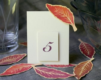 Fall Wedding Table Numbers featuring eggplant purple and burgundy red Leaves