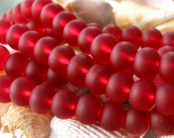 "8"" 19pcs GARNET RED 14mm x 11mm LARGE sea beach glass rondelle Beads frosted recycled"