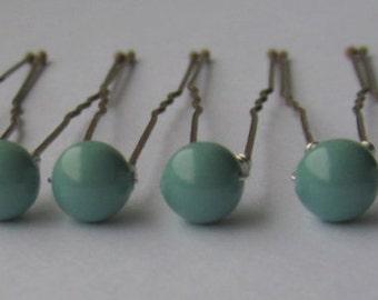 Jade Bridal Hair Pins, Wedding Hair Pins, Pearl Bobby Pins, Swarovski Hair Pins, Single Pearl Hair Pins - Set of 6 Jade Hair Pins 6mm