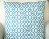 Lumbar Pillows Throw Pillows Cushion Covers Aqua White Chain Link Both Sides- One 12 x 16 o 12 x 18