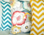 Decorative Throw Pillow Covers, Cushion Covers, Aqua Yellow Gray Raspberry Chevron Home Decor Combo Set of Three 16 x 16