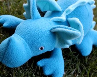 Teal Plush Baby Dragon