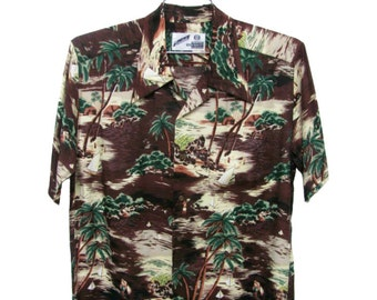 Mens Vintage Rayon Hawaiian Shirt with Coconut Buttons Polynesian Palm Trees Short Sleeve Summer Button Front Shirt Fits Mns Size Medium