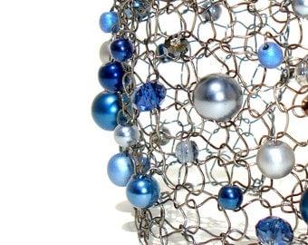 Arm Cuff Bracelet Statement Bracelet Beaded Bracelets Pearl Cuff Bracelet Navy Blue Sapphire Blue Modern Chic Jewelry Gift For Her