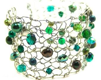 green bracelet beaded bracelets arm cuff bracelet holiday gift for her delicate bracelet modern chic jewelry emerald pearl cuff bracelet