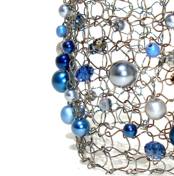 Navy Blue Bracelet Modern Gift for Her Silver Cuff Bracelet Wire Mesh Arm Cuff Navy Pearl and Crystal Titanium Statement Bracelet