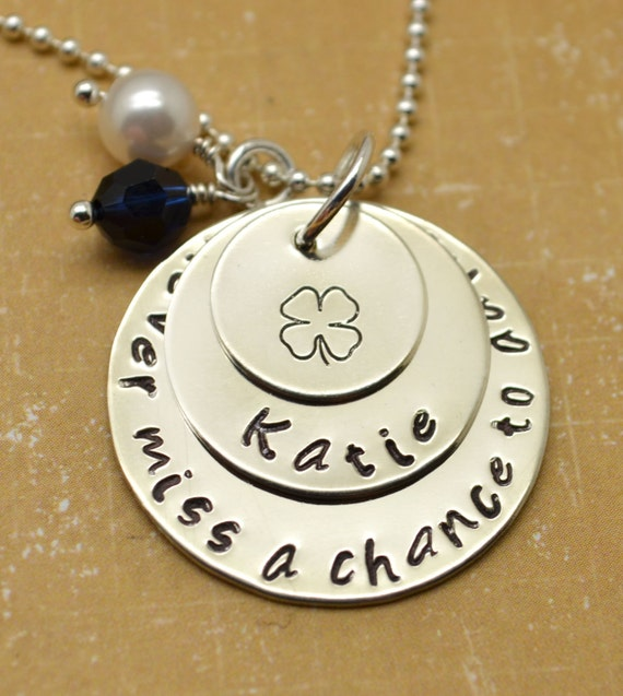 Personalized Necklace, Senior Necklace, High School, College, Dance School, Girl Necklace, Hand Stamped Jewelry