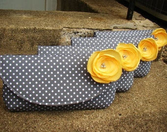 Bridesmaids Clutches, Yellow and Gray Custom Made Clutches, Yellow and Grey Bridesmaids Gifts, Yellow/Gray Bags, Vintage Wedding Clutches