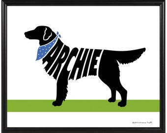 Personalized Flat Coat Retriever Print, Framed 8x10 Dog Wall Art, Silhouette Retriever Name Art, Gift for Dog Lover