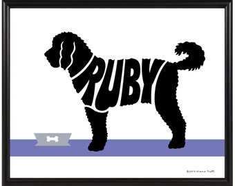 Labradoodle Gift, Personalized Labradoodle Silhouette Print, 8x10 Framed Dog Name Art Print, Gift for Dog Lover