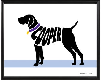 Personalized German Shorthaired Pointer Silhouette Print, 8x10 Framed Dog Name Art Print, Dog Memorial Gift