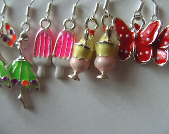 Sweet enamel earrings, choose style, butterfly, fairy, ice cream, sundae , by NewellsJewels on etsy