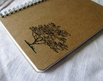 Tree hand stamped chipboard notebook- 5 x 7 inches