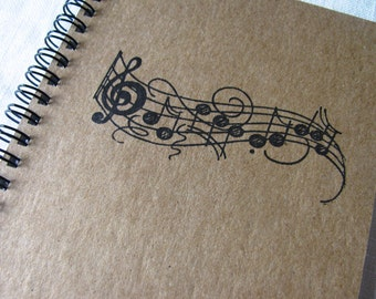 Music Notes hand stamped chipboard notebook- 5 x 7 inches