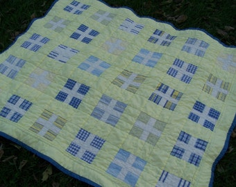 Handmade quilts, yellow and blue quilt, baby quilt, crib quilt, lap quilt, wall hanging, throw