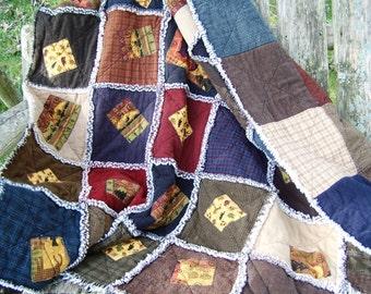 ON SALE!  handmade woodlands quilt, cabin quilt, flannel rag quilt, baby quilt, lap quilt