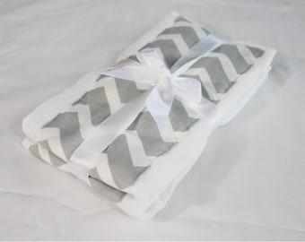 Grey & White Chevron Burp Cloths - Set of 2