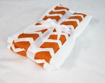 Orange Chevron Burp Cloths - Set of 2