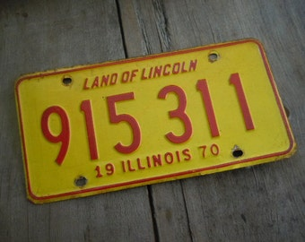 Vintage License Plate Illinois 1970 Yellow and Red Metal Rustic Patina Decor Auto Car Tag Collectible Mancave Garage Decor