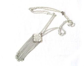 vintage necklace boho 70s white chain geometric pendant tassel 1970s hippie minimalist