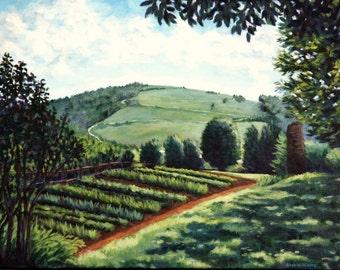 Farm Painting - Acrylic 18x24 Original Monticello Garden Landscape Art