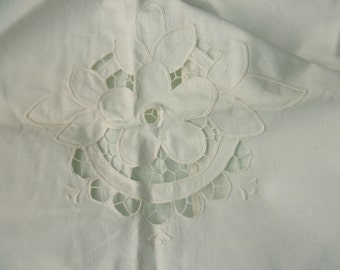 Large Shabby Chic cotton PILLOW SHAM - white, antique