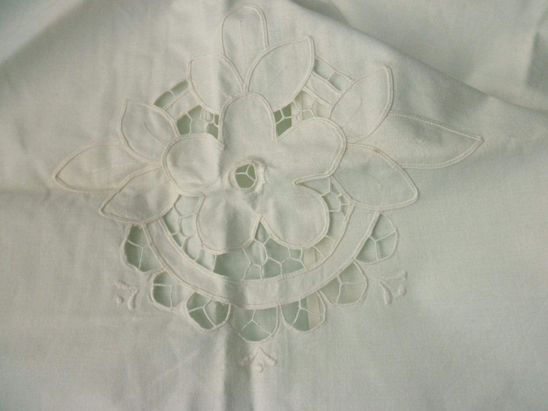 Vintage Shabby Chic Pillow Shams : Large Shabby Chic cotton PILLOW SHAM white antique