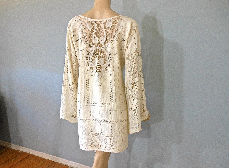 Short LACE Wedding Dress Hippie CrOcHeT Dress By MuseyClothing
