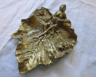 vintage brass LEAF dish - woman, musical instrument, frogs - trinket dish