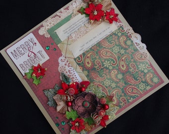 Christmas Merry and Bright 12x12 Premade Scrapbook layout