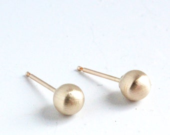 Gold Earrings ( 5mm ) - Matte Gold stud Earring - simple gold studs - brushed gold earrings - gold studs