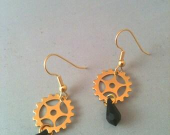 Brass Gear with Black Teardrop Crystal Steampunk Earrings