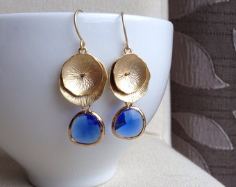 Golden Lotus Leaf Earrings in Cobalt Blue - gift, mother, sister, daughter, wife, birthday, friend, graduation, romantic, girlfriend