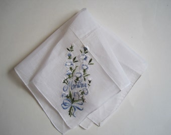 FREE SHIP Vintage MOTHER Hankie Floral Flowers Mother of the Bride Wedding Hanky Bridal New Old Stock Free Ship