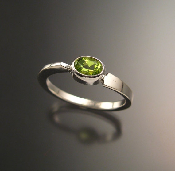 Peridot stackable Ring Sterling Silver Asymmetrical ring Hand crafted in your size