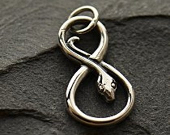 Infinity Snake Charm Sterling Silver - C1220, Links, Connectors, Figure 8 Charms