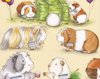 Guinea Pig Barn Dance Fine Art Print
