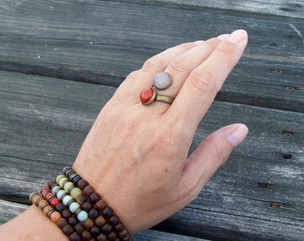 Two Stone Adjustable Ring - Red Jasper Gemstone and Rose Quartz  - Hippie Bohemian - Rustic Gypsy Ring