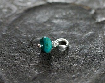 Tiny Turquoise Wire Wrapped Pendant, Sterling Silver Tiny December Birthstone - Add a Dangle