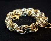 Double Chain weave- two-tone chainmaille- Chainmaille by the inch--Custom chainmaille-Bulk chainmaille