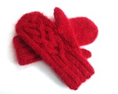 Red Mittens Knit Wool Mohair Womens Celtic Twist Warm