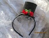 Mini top hat headband - black sparkle mini topper headband - topper headband - top hat headband