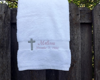Baptism Towel - Cross - Personalized