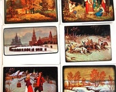 Vintage Russian Post Cards - Set of 12 Postcards - Fedoskino - Craft Art Folk - Collectible Card - 1970s - from Russia / Soviet Union / USSR
