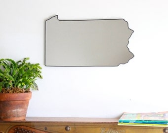 Pennsylvania Mirror Wall Mirror State Silhouette Outline PA Wall Art