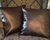 Two Black Faux Leather Pillow Covers