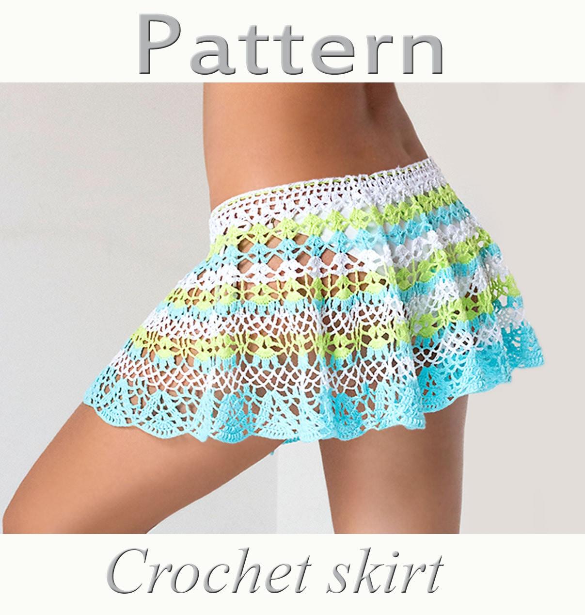 Free Download Crochet Skirt Pattern : Crochet beach skirt PATTERN PDF crochet cover up by ...